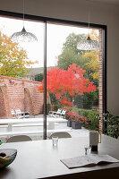 View across kitchen island through glass wall into courtyard garden