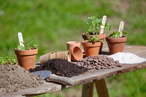 Pot table with soil, drainage, sand and clay pots