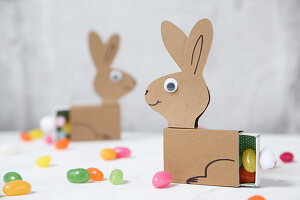 Easter bunnies made from matchboxes and paper