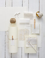 Mood board of various white materials