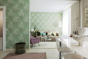 Classic wallpaper in mint green in elegant interior