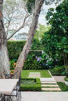 Blick von Terrasse auf alten Baum und Garten mit Gehwegplatten
