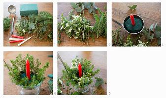 Anleitung für ein weihnachtliches Gesteck im Schöpflöffel
