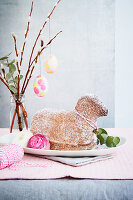 Easter lamb and pussy willow with deco eggs