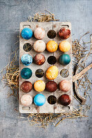 Naturally coloured Easter eggs