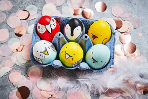 Easter eggs decorated with bird motifs