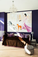 Large painting on purple wall above couch covered in velvet throw