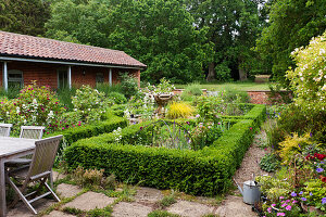 Box hedges surrounding English country garden planting