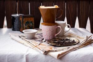 Ceramic filter cone on coffee mug