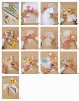 Instructions for making a house ornament from card and coloured paper