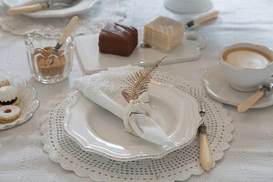 Table set in vintage style for afternoon coffee