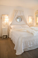 Vintage-style bedroom decorated entirely in white