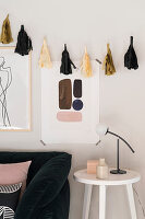 Handmade paper tassels decorating wall