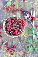 Haws in clay pot and cutlery on rustic wooden table