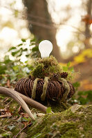 Lantern hand-made from wicker wreath, moss and light bulb