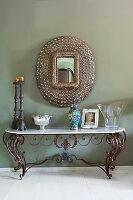 Antiker Schmiedeeisen-Konsolentisch mit Marmorplatte und Wandspiegel