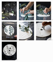 Instructions for making perforated vase lids with leaf motif from modelling clay