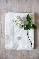 Weißer Flieder auf weißem Kissenbezug