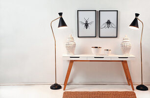 Urns on console table flanked by two standard lamps below drawing of insects on wall