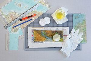 Transparentpapier selber machen mit Landkarten und Öl