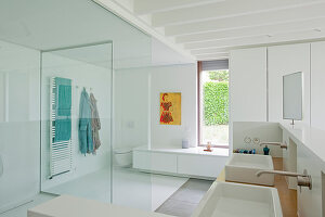 Large, modern bathroom with glass partition walls