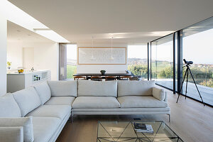 Pale sofa set and glass wall in open-plan interior