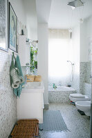 Mosaic tiles in bright bathroom