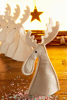 Felt reindeer as festive table decorations