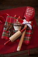 Festive baking utensils and Christmas-tree decorations