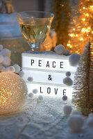 Christmas greeting on light box