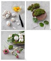 Osterdekoration aus Moos, Eierschalen und Blumen basteln