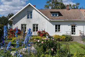 Blooming summer garden of white country house