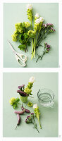 Instructions for making a green and purple flower arrangement with aubergines