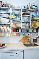 Stainless steel kitchen shelf with plate shelf and cup hook