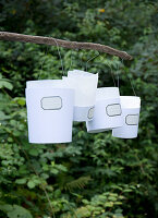 Paper lanterns with nostalgic labels on a stick in the garden
