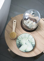 Wooden stool with bath utensils and decoration
