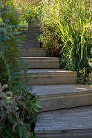 Winding flight of wooden steps in garden
