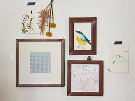 DIY picture frames made from edging strips