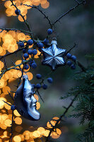 Christmas decorations hanging from blackthorn branch