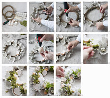 Instructions for making an Easter wreath from egg boxes, eggshells and moss