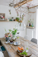 Spherical glass lamp and contorted hazel branches above dining table