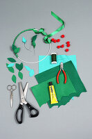 Craft supplies for making a felt Christmas wreath
