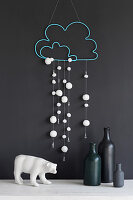 Handcrafted snowy-cloud mobile