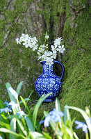 Branches of blackthorn blossom in blue jug