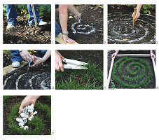 Instructions for making a miniature bed with a spiral of grass and white gravel as garden decoration