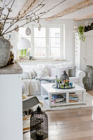 Easter decorations in bright, shabby-chic living room