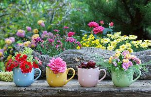 Verbene, Rose, Süßkirschen und Wandelröschen in Tassen