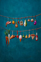 Christmas baubles shaped like groceries
