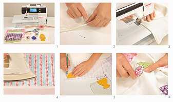 Instructions for making tablecloth with appliqué eggs and eggcups