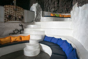 Living room of Villa Lagomar, Lanzarote, built into a cliff